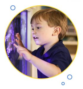 Boy looking at aquarium